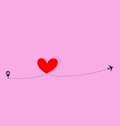 Airplane flying dash line heart loop in sky vector