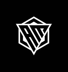 Am logo monogram with triangle and hexagon shape vector
