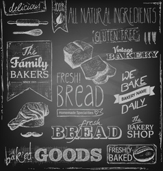 Bakery elements on a blackboard vector