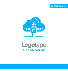 based data cloud science blue solid logo template vector image