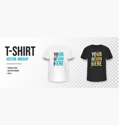 Black and white t-shirt mockup mockup of vector