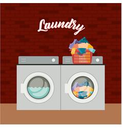 Brick wall background of set wash machine laundry vector