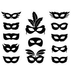 Carnival mask silhouettes vector