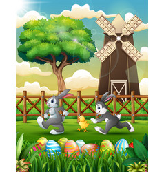 cartoon of happy bunny with chick playing in the f vector image