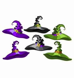 cartoon witch hats set isolated on white vector image