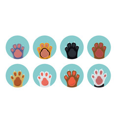 Cat paw icons vector