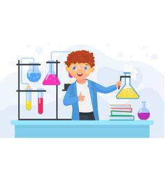 child scientist in scientific chemical experiment vector image