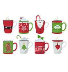 christmas cup holiday hot coffee drinks mug vector image