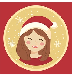 Circle Christmas Girl on Red vector