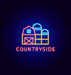 countryside neon label vector image