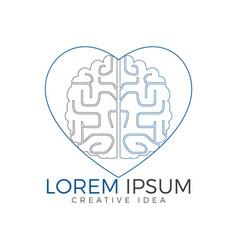 creative brain heart shape logo design vector image