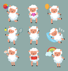 Cute baby sheep funny cartoon woolly lamb vector