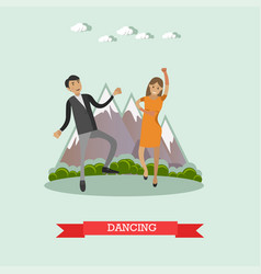 Dancing couple illutration in flat style vector