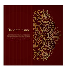dark burgundy card with golden mandala vector image