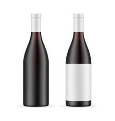Dark glass wine bottle with label and blank mockup vector