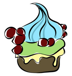 delicious cupcake on white background vector image
