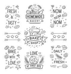 Doodle bakery logo and ornament vector