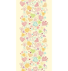 Doodle Hearts Vertical Seamless Pattern Background vector