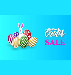 easter sale banner template with bunny and easter vector image