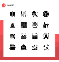 Editable line pack 16 simple solid glyphs of vector
