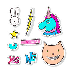 fashion stickers elements with cat pony and cute vector image