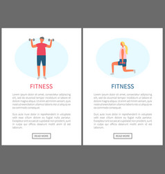 fitness people man and woman weightlifting website vector image