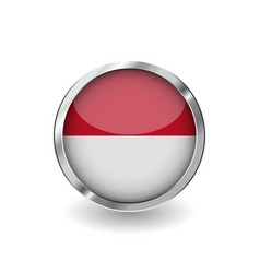 flag of indonesia button with metal frame and vector image