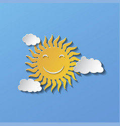 flat design smiling cartoon sun isolated on blue vector image