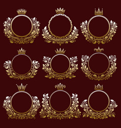 Floral coat of arms frames with crowns vector