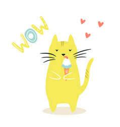 Funny cat eating ice cream vector