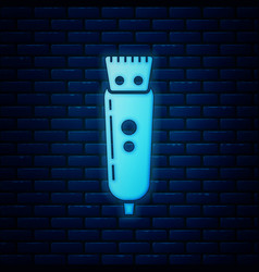 Glowing neon electrical hair clipper or shaver vector