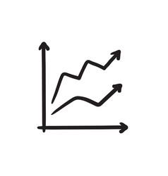 Growth graph sketch icon vector