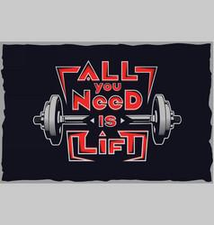 gym vintage label t-shirt design vector image