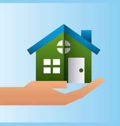 Hand holding house residence family protection vector