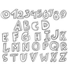Handwritten font in 3d style vector