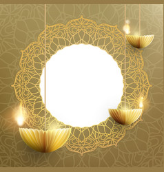 Happy diwali card template the indian festival of vector