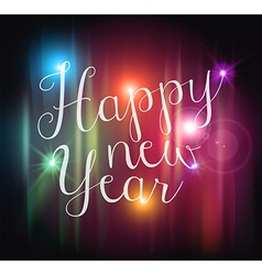 Happy new year bokeh lights card vector image