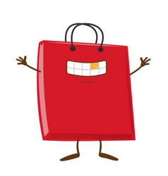 happy shopping bag cartoon character mascot vector image