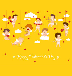 happy valentine day card with hanging cupid angels vector image