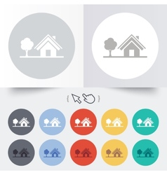 Home sign icon House with tree symbol vector image
