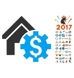 House Rent Options Icon With 2017 Year Bonus vector image