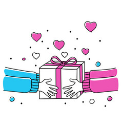 human hands giving gift box vector image