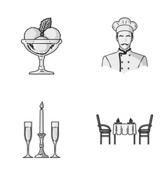 Ice cream with fruit chef candle and glasses a vector