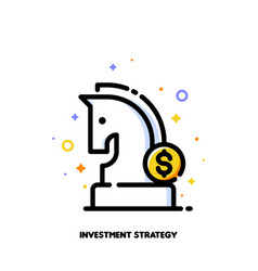 Icon knight chess piece for investment strategy vector
