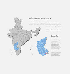 India country map and karnataka state template vector