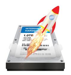 internal harddisk with a speed boost rocket vector image