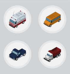 Isometric car set of freight suv first-aid and vector