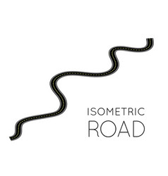 isometric highway curved road with markings 3d vector image
