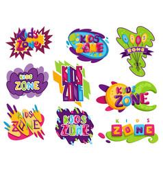 kids zones set children playground game room vector image
