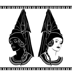 Ladies in medieval hats stencil vector